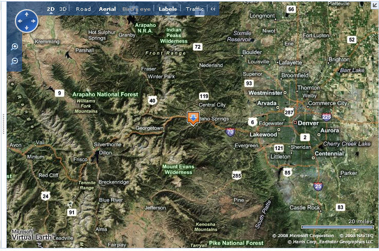 Map of Cottonwood RV Campground in Colorado
