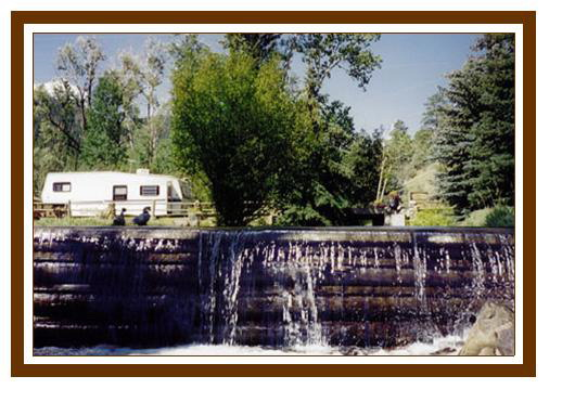 waterfall at Cottonwood RV Campground